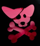 A puppy pirate logo. Red on a black background.